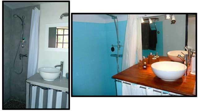 Salles de bain (à gauche, celle du studio).