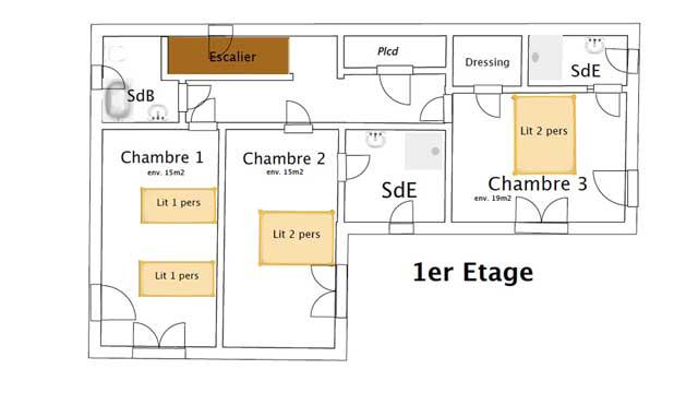 Plan de l'étage : 3 chambres pour 6 couchages. Trois salles de bain.